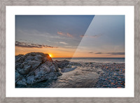 Rocks sun and water Picture Frame print