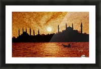 Sunset Over Istanbul Original Coffee Painting Picture Frame print