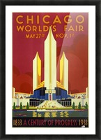 A vintage travel poster promoting the 1933 World Fair in Chicago Picture Frame print