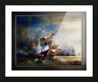 Battle of Cape Lizard in 1707 by Jean Antoine Theodore Gudin Classical Fine Art Xzendor7 Old Masters Reproductions Picture Frame print