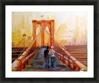 Brooklyn bridge in the evening light. Picture Frame print
