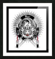 White Tiger King Tiger Art Emblem by Xzendor7 Picture Frame print