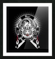 White Tiger King Tiger Art Emblem BlkBgnd by Xzendor7 Picture Frame print