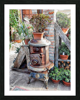 Old Wood Stove With Succulents Picture Frame print