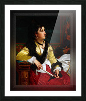 Portrait Of A Noblewoman Holding A Fan by Jan Frederik Pieter Portielje Classical Fine Art Xzendor7 Old Masters Reproductions Picture Frame print