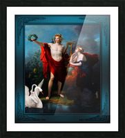 Apollo God of Light with Urania Muse of Astronomy by Charles Meynier Classical Fine Art Xzendor7 Old Masters Reproductions Picture Frame print
