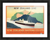 Vintage travel advert for transport to New Zealand via Panama Picture Frame print