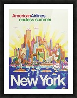 New York American Airlines endless summer travel poster Picture Frame print