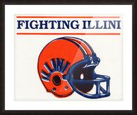 Retro Illinois Football Helmet Art Picture Frame print