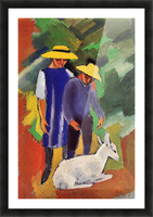Children with goat by August Macke Picture Frame print
