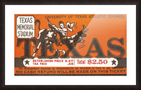 Vintage Thirties Texas Longhorn Football Ticket Remix Art Picture Frame print