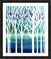 Blue Teal Forest  Picture Frame print
