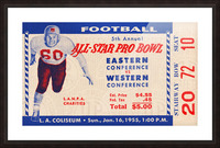 1955 Pro Bowl Football Ticket Stub Art Picture Frame print