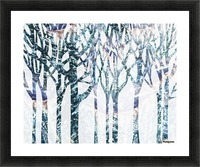 Watercolor Forest Silhouette Winter Picture Frame print