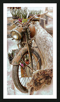 Old Rusty Motorbike Against Tree Stump Picture Frame print