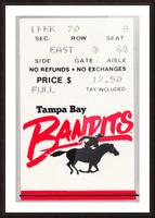1985 Tampa Bay Bandits Ticket Stub Art Picture Frame print