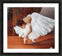 Ballerina fixing her slippers Picture Frame print
