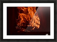 Fierce fire flames in the fireplace Picture Frame print