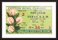 1941 Fordham vs. Texas AM Cotton Bowl Ticket Art Picture Frame print