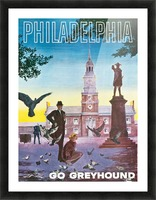 Greyhound Bus Travel Poster for Philadelphia Picture Frame print