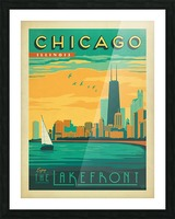 Chicago Lakefront travel poster Picture Frame print