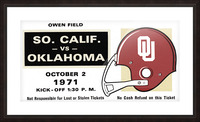 1971 USC vs. Oklahoma Football Ticket Stub Remix Art  Picture Frame print