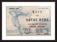 1945 Notre Dame vs. Navy Football Ticket Stub Metal Sign Picture Frame print