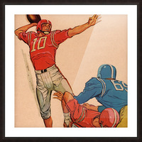 1959 Vintage Football Quarterback Art Picture Frame print