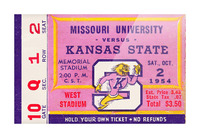 1954 Missouri Tigers vs. Kansas State Wildcats Ticket Stub Art Picture Frame print
