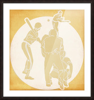 Retro Baseball Pitcher and Batter Art Picture Frame print