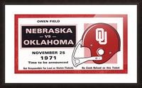 1971 Oklahoma Nebraska Game of the Century Ticket Stub Remix Canvas Art Picture Frame print