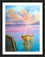 tranquility floating boat patiently waiting for new adventure. Picture Frame print