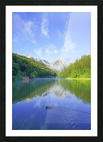Blue Skies over the Riessersee in the Bavarian Alps near Garmisch Germany Picture Frame print