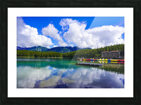 Brilliant Blue Skies over Lake Eibsee with Friederalm and Enningalm of the southern Ammergauer Alps in the Background Picture Frame print