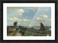 Dutch landscape with mill and figures Picture Frame print