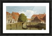 Along the canal in a Dutch town Picture Frame print