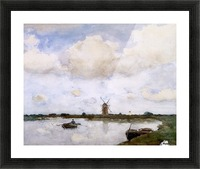 Mill at the lake Sun Picture Frame print