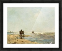 Sunny landscape with lake and figures Picture Frame print