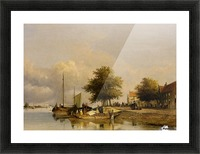 Townsfolk on a quay Picture Frame print