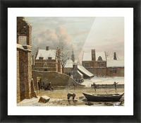 View of a City in Winter with Ice Skaters Picture Frame print