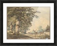 Deer under beech trees in Winter Picture Frame print