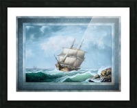 Brig Off the Maine Coast by Fitz Hugh Lane Classical Marine Fine Art Xzendor7 Old Masters Reproductions Picture Frame print