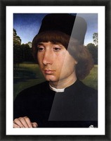 Portrait of a Young Man before a Landscape Picture Frame print