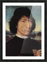 Portrait of a Man holding a coin of the Emperor Nero Picture Frame print