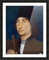 Portrait of a man with an arrow Picture Frame print