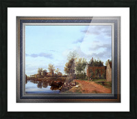 A Country House on the Vliet near Delft by Jan van der Heyden Classical Fine Art Xzendor7 Old Masters Reproductions Picture Frame print