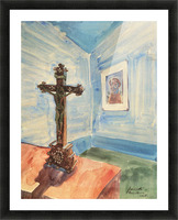 Crucifix in the room by Walter Gramatte Picture Frame print