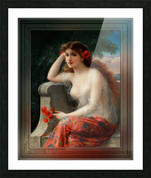 Girl with a Poppy byEmile Vernon Wall Decor Xzendor7 Old Masters Art Reproductions Picture Frame print