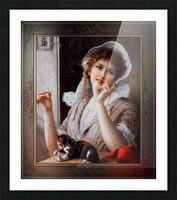 At Play byEmile Vernon Vintage Fine Art Xzendor7 Old Masters Reproductions Picture Frame print