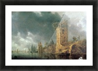 River Scene with Ruined Tower Picture Frame print